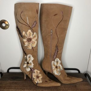 Delman leather bottom suede Boot